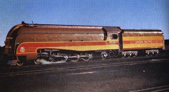 UP No. 7002 was a streamlined 4-8-2 Mountain locomotive.