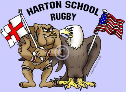 cartoon animal rugby players English bulldog and American bald eagle for school tour T shirts