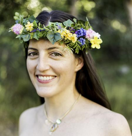 cheerful sprite, floral crown, woodland, flowers, faerie, wildish crown
