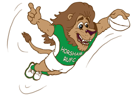 cartoon animal lion rugby player diving scoring a try