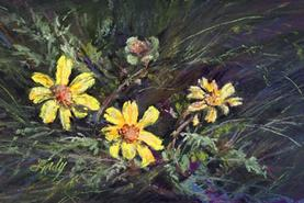 A Quiet Moment, miniature pastel of chocolate flowers by Lindy C Severns