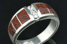 Dinosaur bone rings and wedding rings in sterling silver by Hileman Silver Jewelry.
