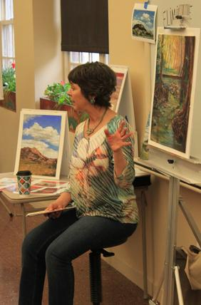 Texas Artists Lindy Cook Severns teaching a pastel painting workshop sponsored by the Museum of the Big Bend Alpine TX 2016
