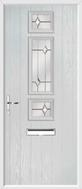 3 Square Strip Composite Door regal opal glass