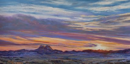 The Lights of Alpine Texas pastel landscape painting by Fort Davis Texas artist Lindy Cook Severns
