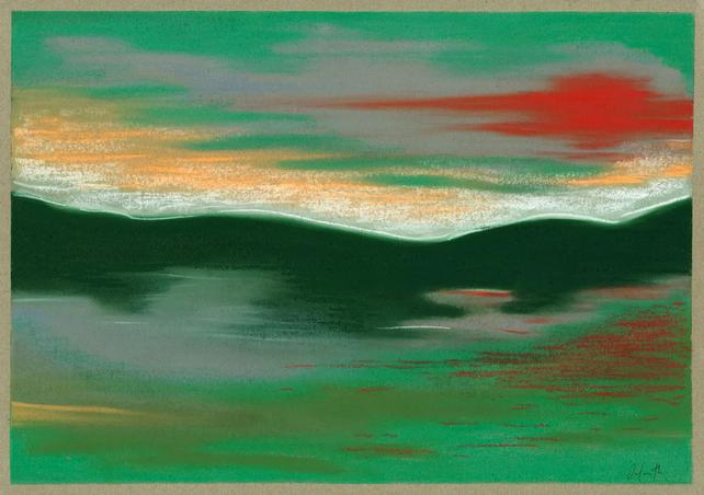 Green Red Landscape Study Cornamona 30x40cm Chalk Pastel on Paper by Orfhlaith Egan Berlin