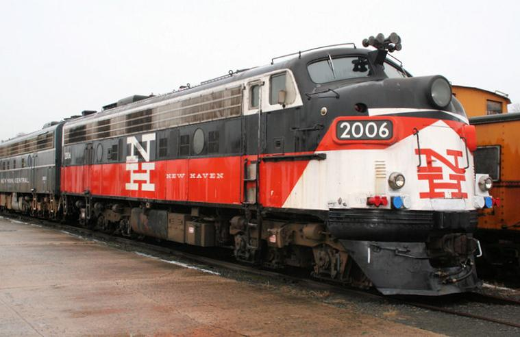 Former New Haven EMD FL-9 diesel electric locomotive No. 2006 at the Danbury Railway Museum, Danbury, Connecticut.