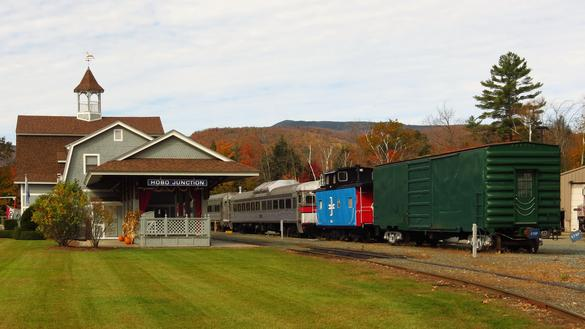 Hobo Railroad depot and rolling stock at Lincoln, New Hampshire.