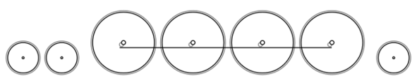 Diagram of the 4-8-2 Wheel Arrangement: two small leading wheels, four large driving wheels joined with a coupling rod, and a single small trailing wheel. Front of locomotive at left.