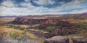 Fort Davis in Days Gone By, pastel landscape by Lindy C Severns
