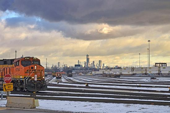 Modern-day action at BNSF Corwith rail yard, with downtown Chicago in background, January 23, 2017.