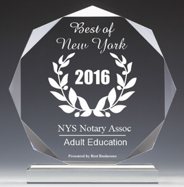 Best New York State Notary Trainer Licensing Classes Private Education Award 2016