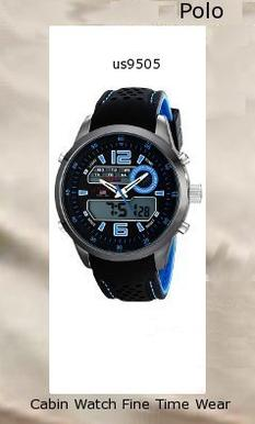 Watch Information Brand, Seller, or Collection Name U.S. Polo Assn. Model number US9505 Part Number US9505 Item Shape Round Dial window material type Glass Display Type Analog and digital Clasp Buckle Case material Metal Case diameter 50 millimeters Case Thickness 16 millimeters Band Material Silicone Band length Men's Standard Band width 23 millimeters Band Color Two Tone Dial color Black Bezel material Metal Bezel function Stationary Calendar Day, date, and month Movement Analog quartz