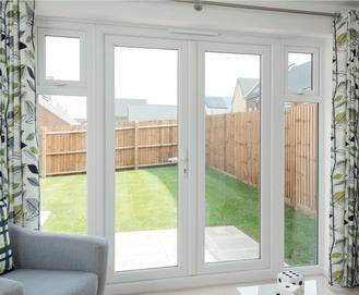 UPVC French door with sidelights