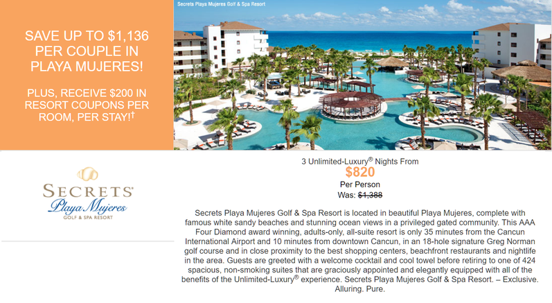 Secrets Playa Mujeres all inclusive honeymoon promotion