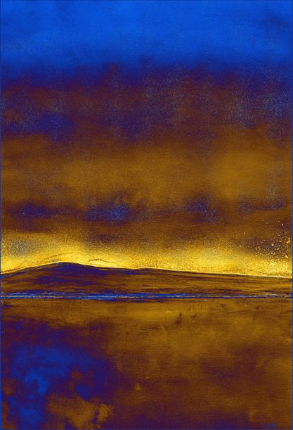 Nocturne: Blue and Gold Digital Landscape Painting by Orfhlaith Egan (OrlainBerlin) hicetnunc NFT Creator Address: tz1ViMzA17dRAZpCopuckBHdphMua26YDVgN