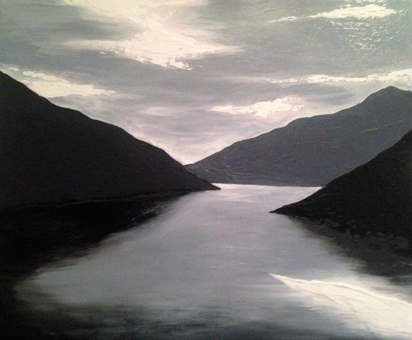 Fjord original acrylic painting, private collection Hamburg, Germany by Irish artist Orfhlaith Egan. Berlin Gallery & Studio. Gift an original painting or fine art print for Christmas and support emerging artists.