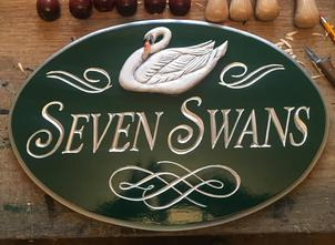 Oval carved sign for customer in Connecticut