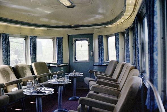 Interior of Algonquin Park on the Canadian Pacific Trans Continental train in 1978.