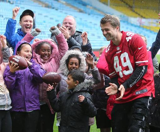 The Academy working with San Francisco 49ers, Leeds United, the NFL and Leeds Schools - Patrick Bamford having fun