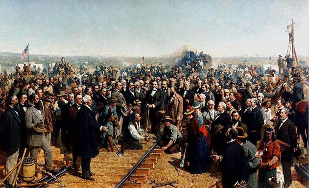 The Last Spike by Thomas Hill. The painting depicts the ceremony of the driving of the Last Spike at Promontory Summit, UT, on May 10, 1869, joining the rails of the Central Pacific Railroad and the Union Pacific Railroad.