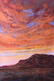 First Rain on Blue Mountain, pastel landscape painting by Lindy C Severns, Fort Davis TX