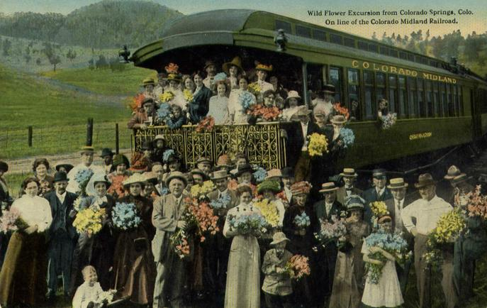 Wild flower excursion on the Colorado Midland from Colorado Springs, 1917.