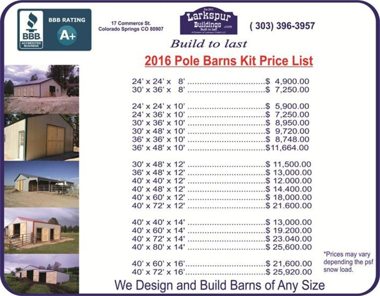 Pole Barn Price List, Price List Horse Barns, Loafing Sheds, Barn, barns