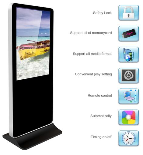 Buy Hire Standalone Digital Advertising display, avaialble sizes are 42 inch, 55 inch, 65 inch Full HD LED display.