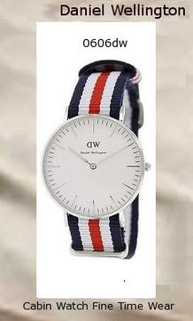 Product Specifications Watch Information Brand, Seller, or Collection Name Daniel Wellington Model number 0606DW Part Number DW00100051 Model Year 2014 Item Shape Round Dial window material type Mineral Display Type Analog Clasp Buckle Case material Stainless steel Case diameter 36 millimeters Case Thickness 6 millimeters Band Material Nylon Band length Women's Standard Band width 18 millimeters Band Color multi Dial color White Bezel material Stainless steel Bezel function Stationary Special features Water resistant 3ATM Item weight 2.40 Ounces Movement Quartz Water resistant depth 99 Feet,daniel wellington