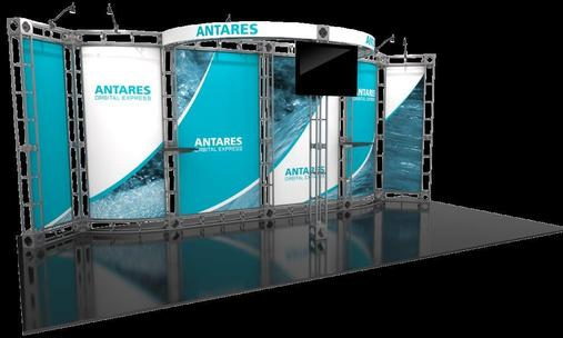 Antares 10x20 Orbital Truss trade show booth exhibit left side.