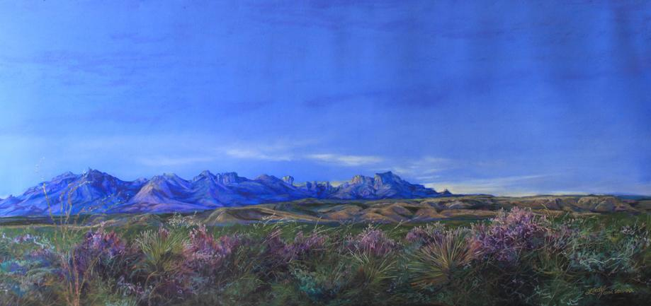 Lindy C Severns Big Bend NP landscape painting of blooming Texas sage and the Chisos Mts