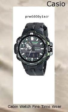 Watch Information Brand, Seller, or Collection Name Casio Model number PRW-6000Y-1ACR Part Number PRW-6000Y-1ACR Item Shape Round Dial window material type Anti-Reflective Sapphire Display Type Analog-Digital Clasp Buckle Case material Resin Case diameter 5.8 centimeters Case Thickness 13 millimeters Band Material Resin Band length Mens-Standard Band width 5.2 centimeters Band Color Black Dial color Black Bezel material Resin Bezel function Stationary Calendar Day, date, and month Special features Stop-watch, World time, Timer, Luminous Movement Quartz Water resistant depth 330 Feet