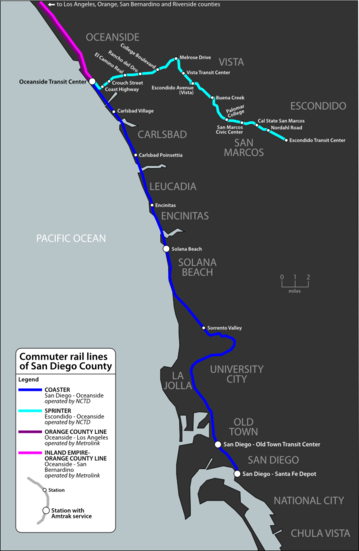 Map of commuter rail lines in San Diego County, California.
