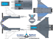free paper airplane template of Eurofighter EF-2000
