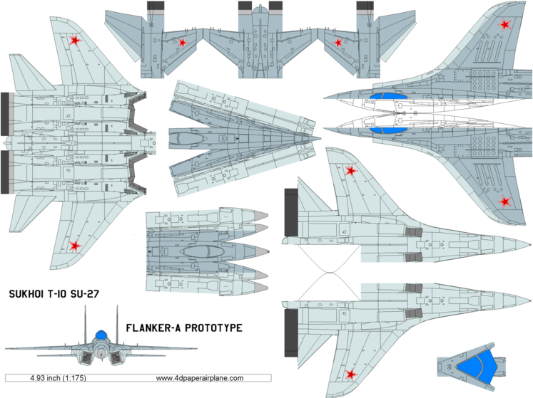 4D model template of Sukhoi SU-27 Flanker-A