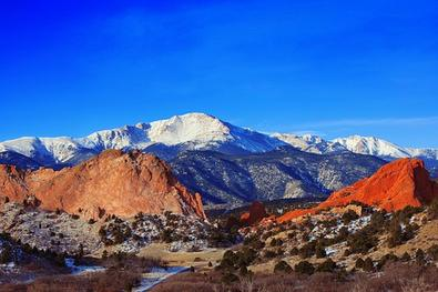 Scenic view of Pikes Peak