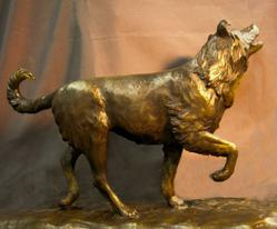 bronze sculpture of dog