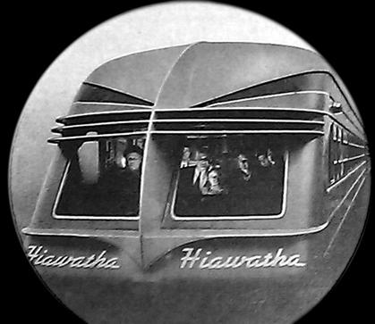 An advertisement depicts a Beaver Tail car on the rear of the Midwest Hiawatha in the 1940s. The Chippewa received these cars in 1948.