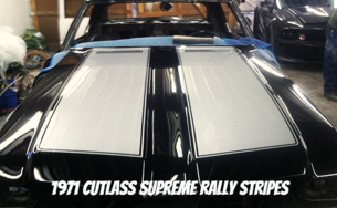1971 Cutlass Supreme Black Hood with Silver Rally Stripes