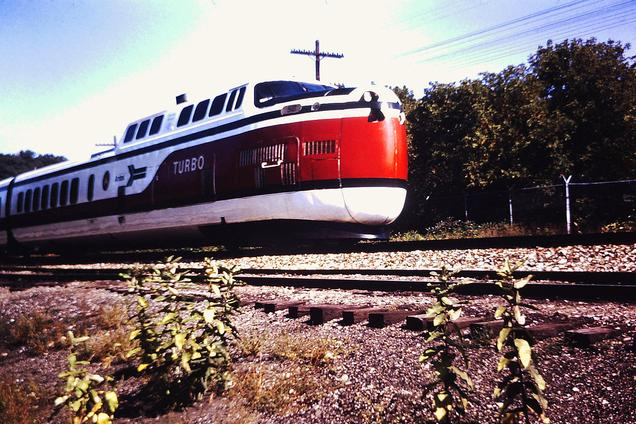 Amtrak's TurboTrain at Ann Arbor, Michigan, circa September 1971.
