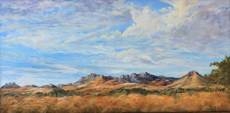 Gathering the WInd, oil painting of the Davis Mountains of West TX by Lindy Cook Severns
