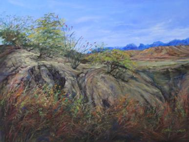 Trail to the Indian Spring, Big Bend Artist Lindy C Severns pastel original. Old Spanish Trail Studio, Fort Davis TX