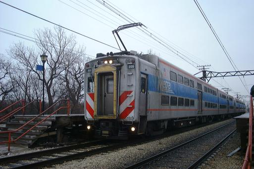Metra Electric Highliners at 59th Street station.