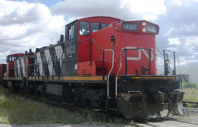 CN GMD-1 No. 1403, a 1,200 hp switcher locomotive built by General Motors Diesel Division.