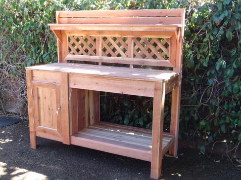 cedar potting bench with full cabinet, double doors, non locking cam.