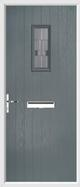 Cottage rectangle rebate composite door lignum glass