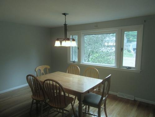 newly painted dining room and ceiling in Bridgewater, MA.