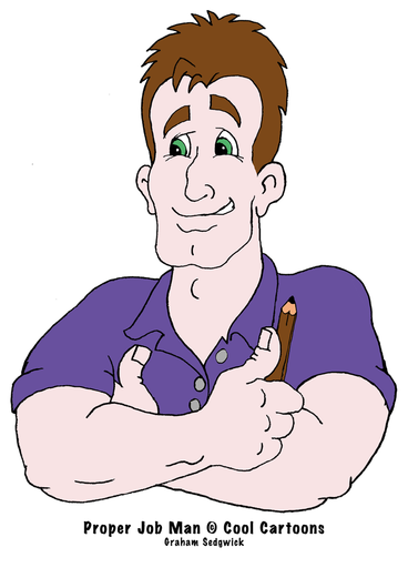 xoolcartoons.net cartoon logos proper job man tradesman character design
