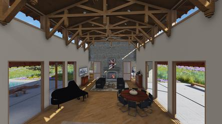 PlanetArchitects.com East Texas BlueBonnet great room timbers
